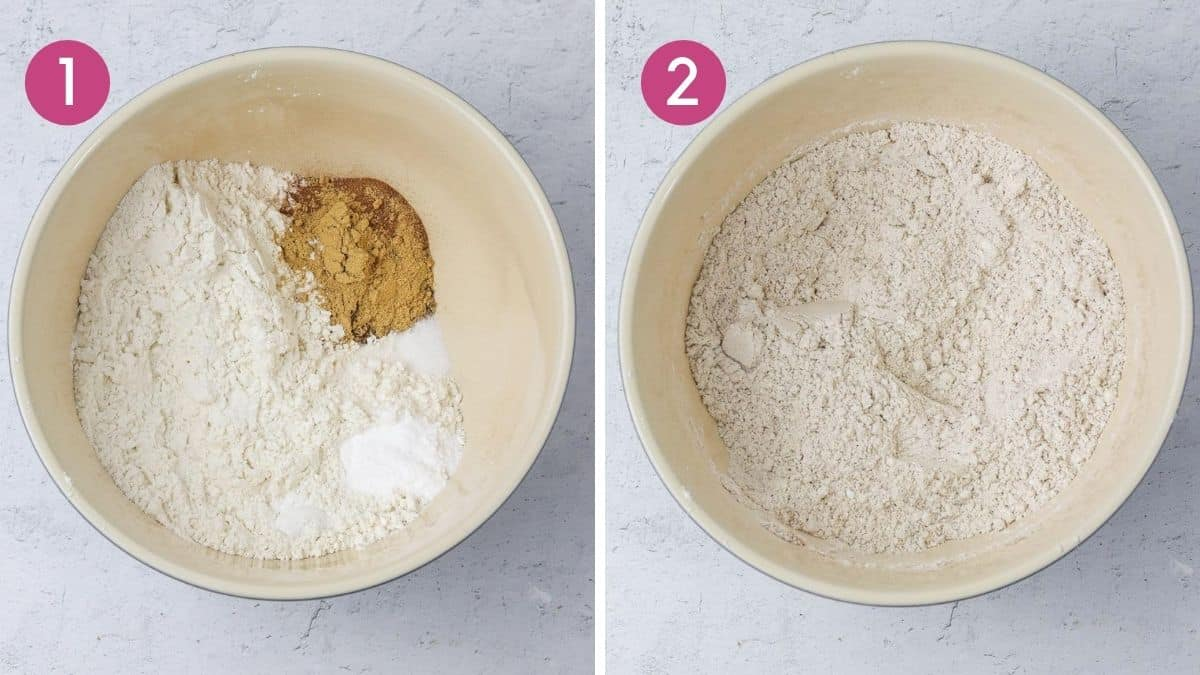Mixing dry ingredients to make a ginger loaf cake.