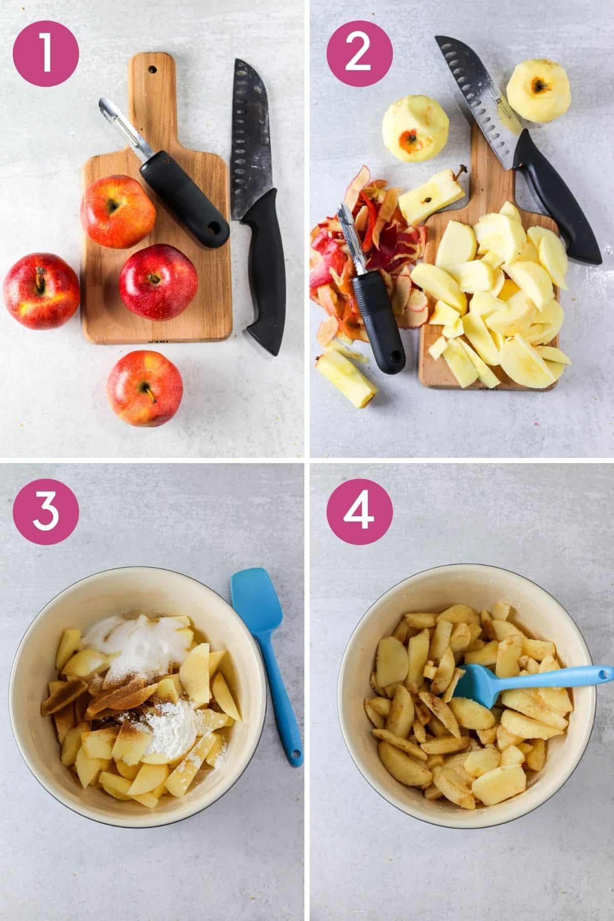How to prepare apples to make a skillet apple crisp.
