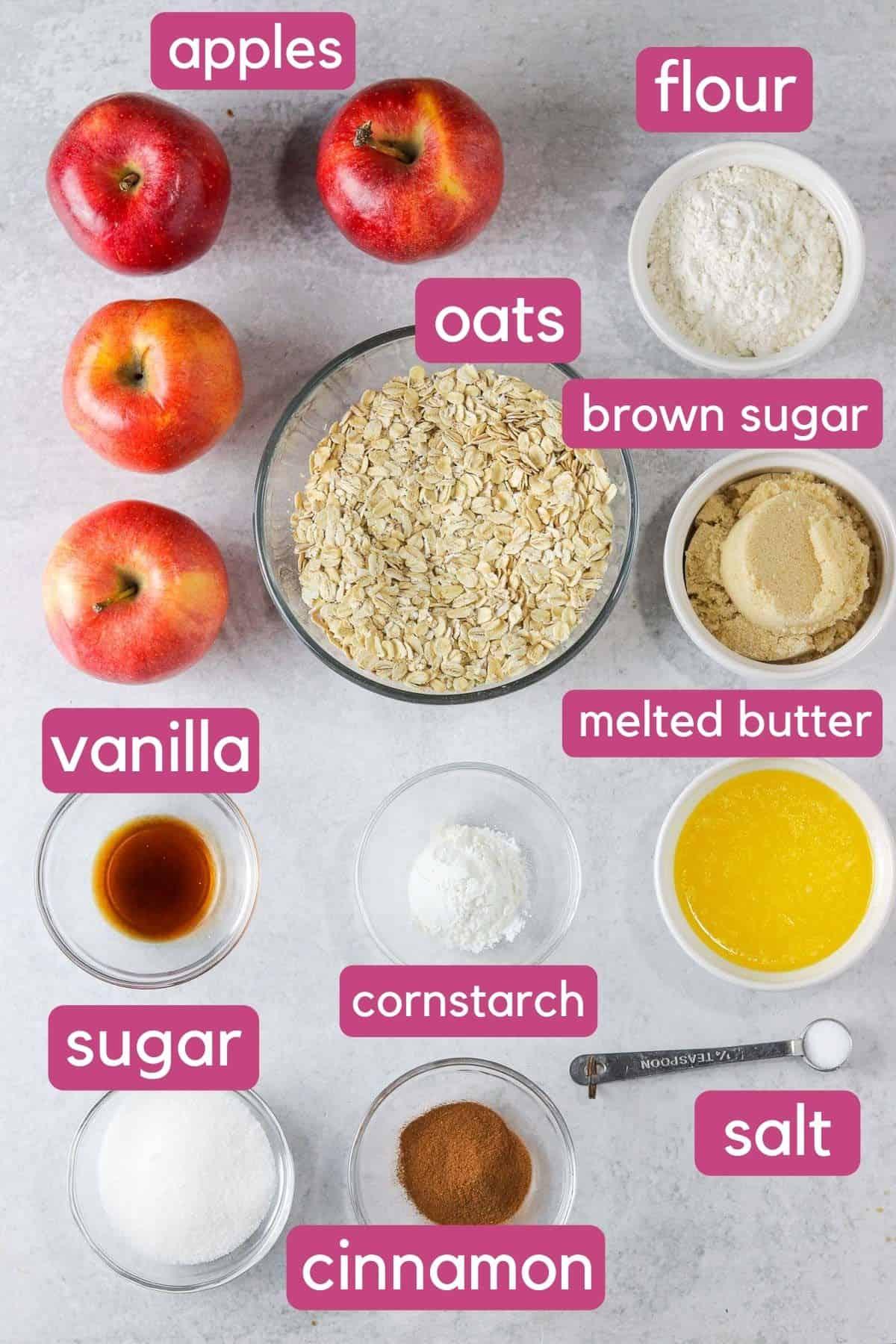 Ingredients needed to make skillet apple crisp.