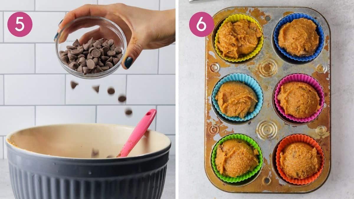 adding chocolate chips to gluten free pumpkin muffins.