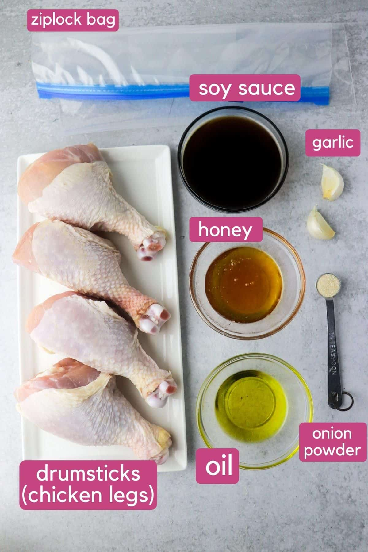 air fryer drumsticks ingredients for honey soy flavor.