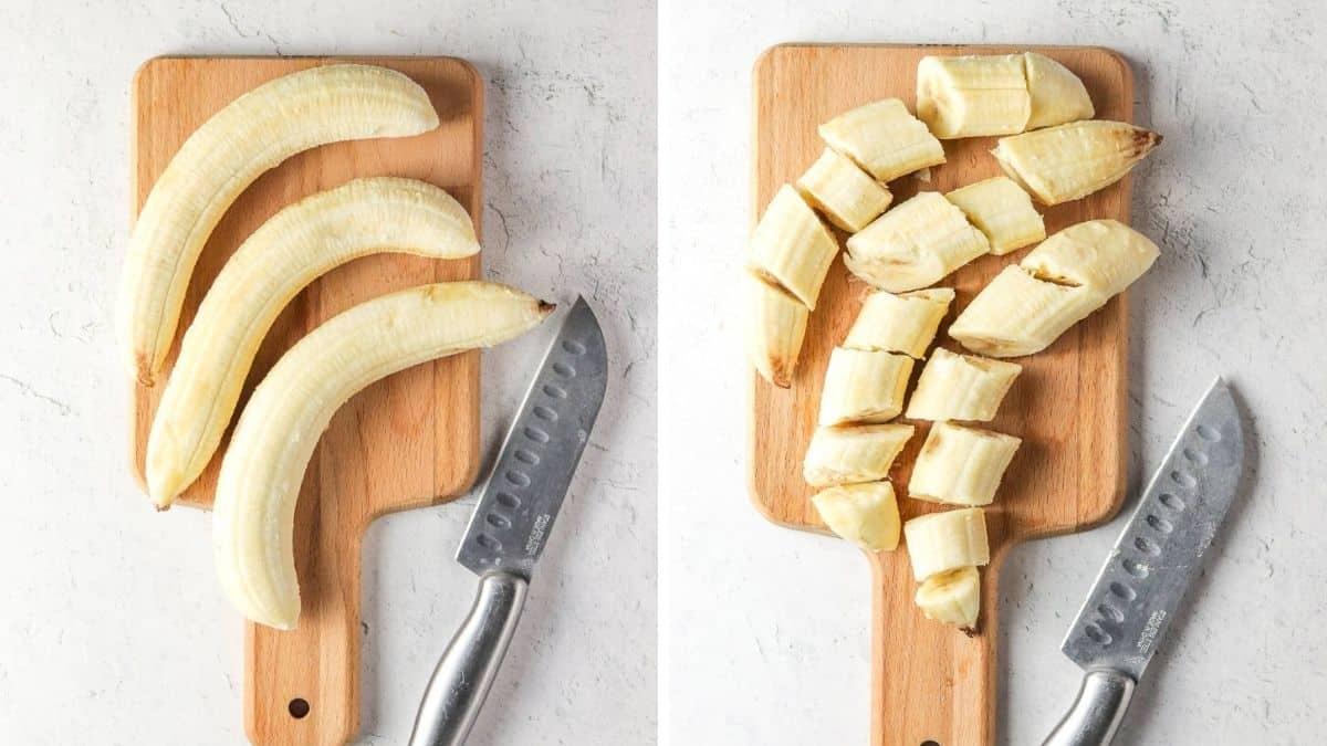 cutting bananas for lavender nice cream