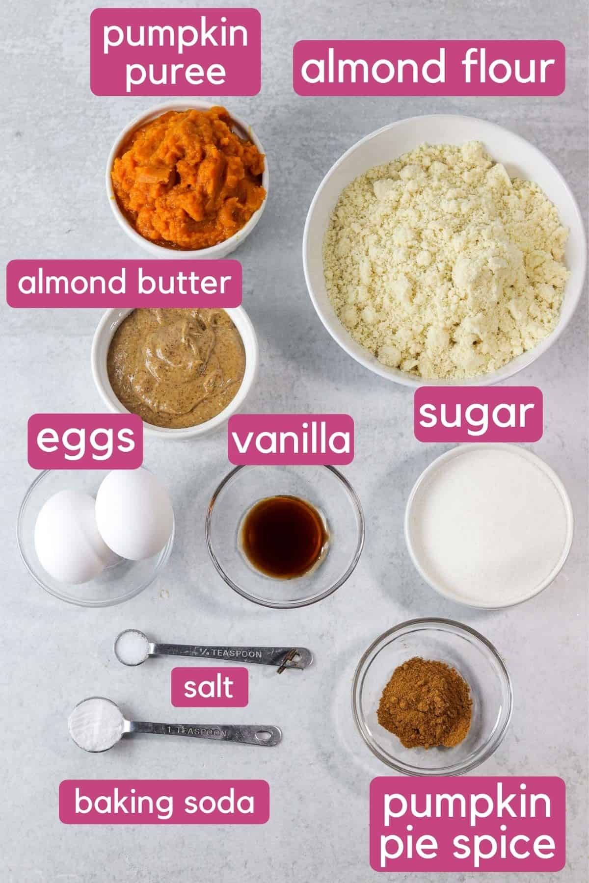 gluten free pumpkin muffin ingredients on the counter.