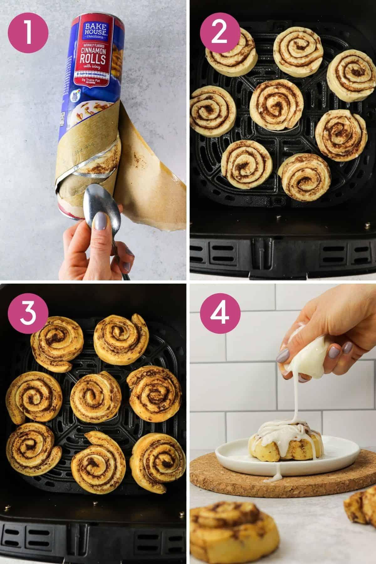 how to make air fryer cinnamon rolls.