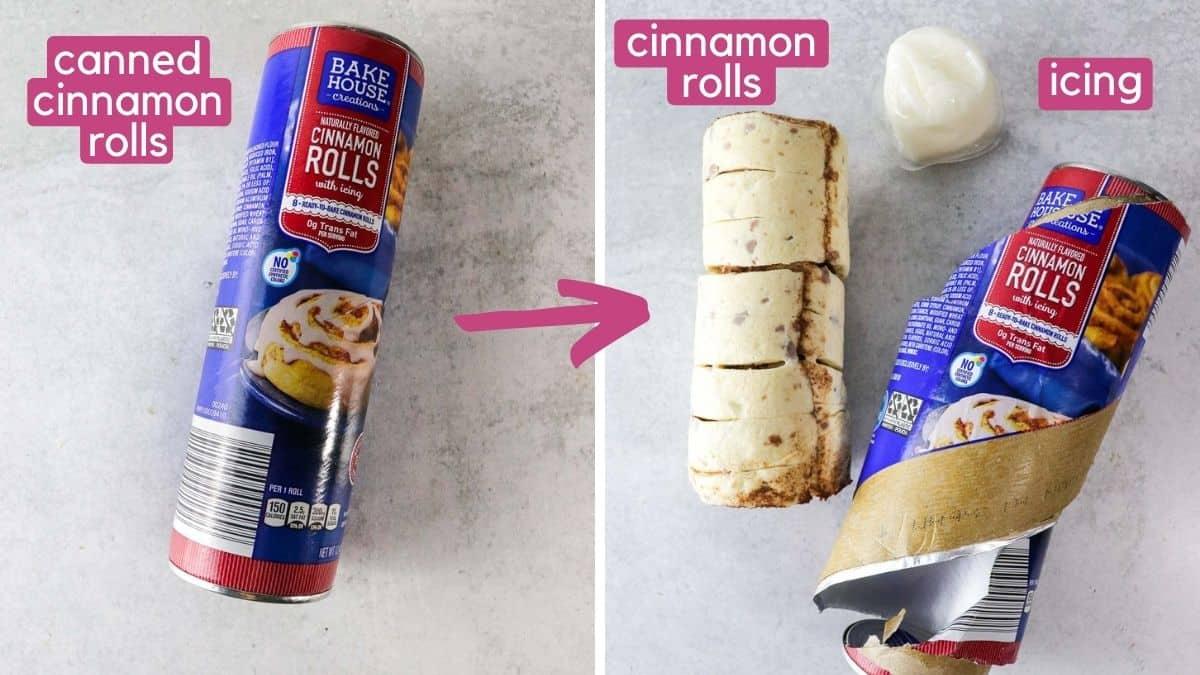 ingredients for air fryer cinnamon rolls.