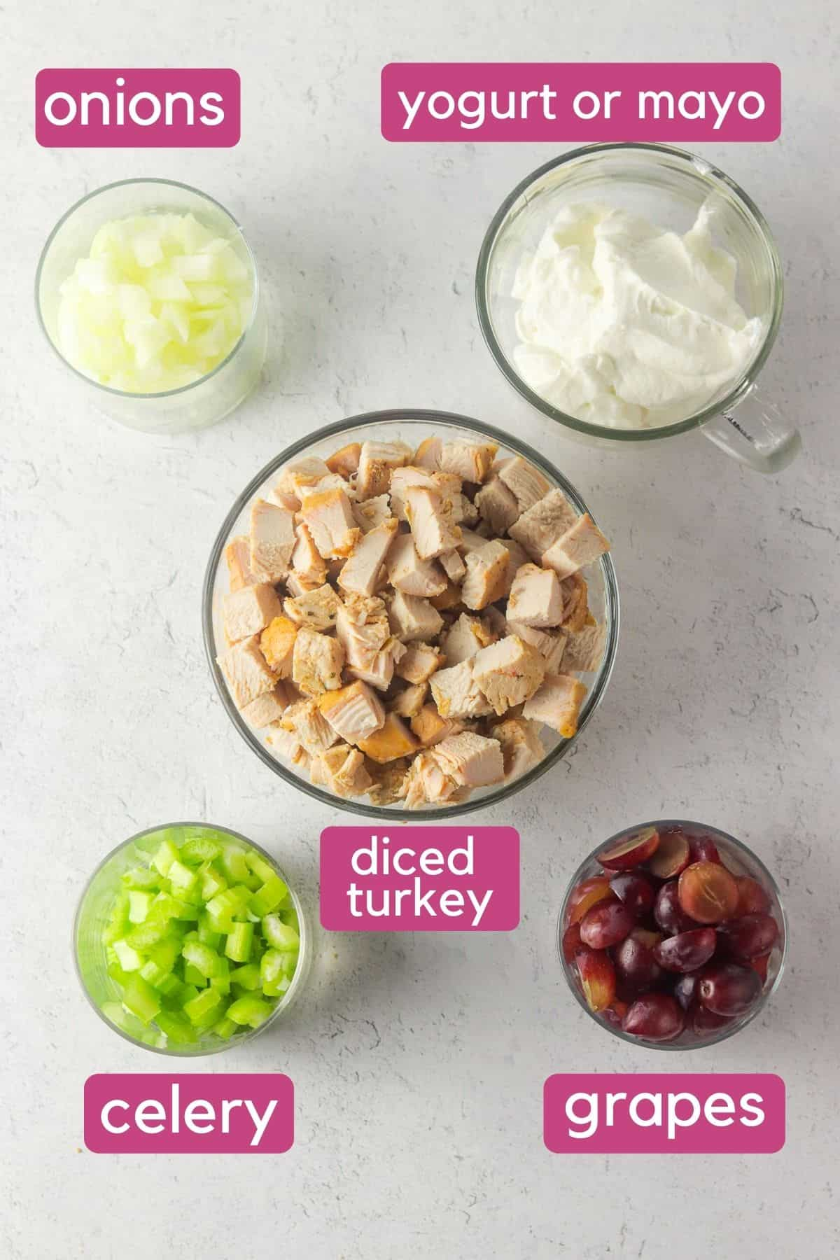 ingredients for turkey salad with grapes.