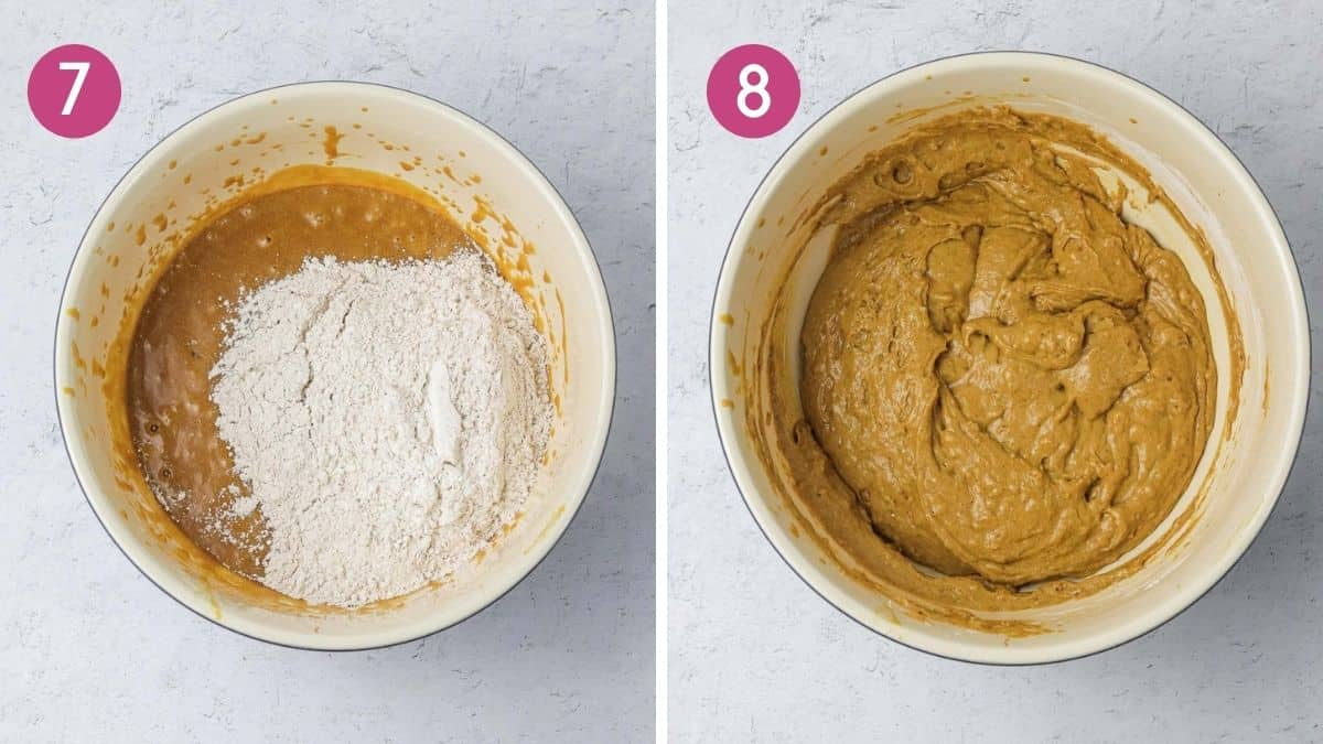 mixing wet and dry ingredients for ginger loaf cake