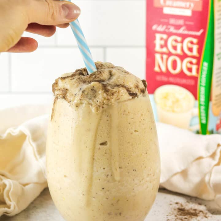 straw into eggnog smoothie.