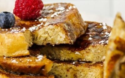 thick fluffy sourdough french toast pinterest pin.