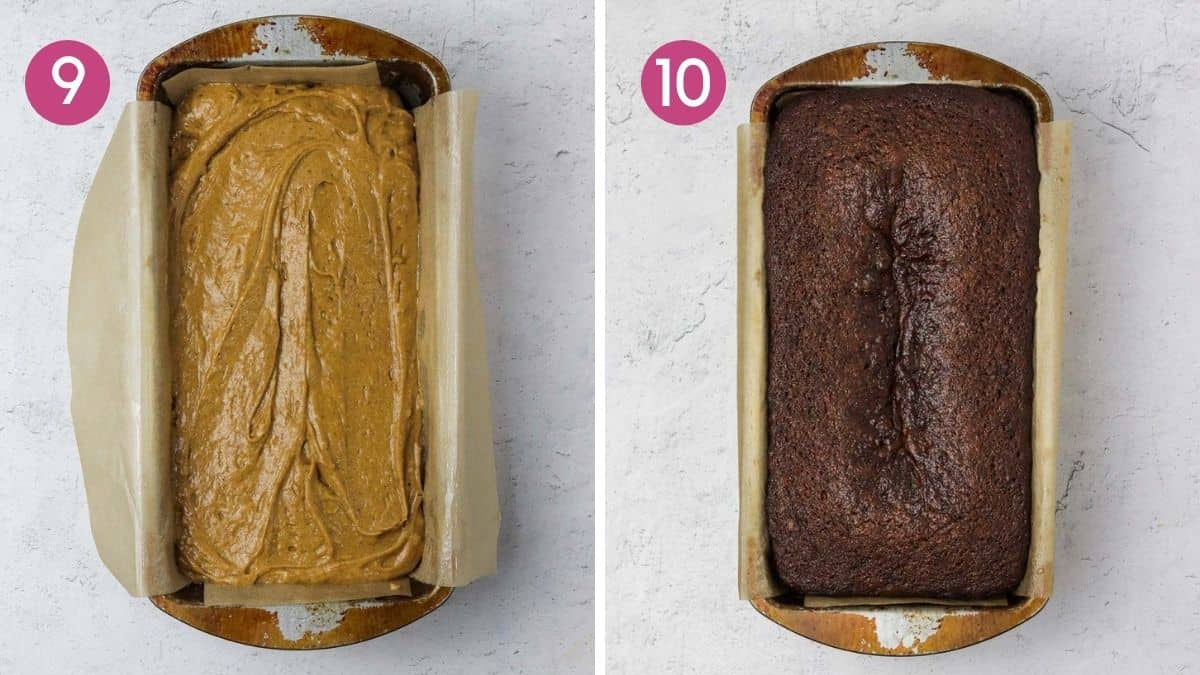 unbaked and a baked ginger loaf cake