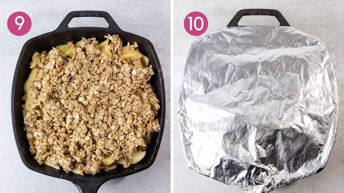 Adding aluminum foil to the skillet to make apple crisp.