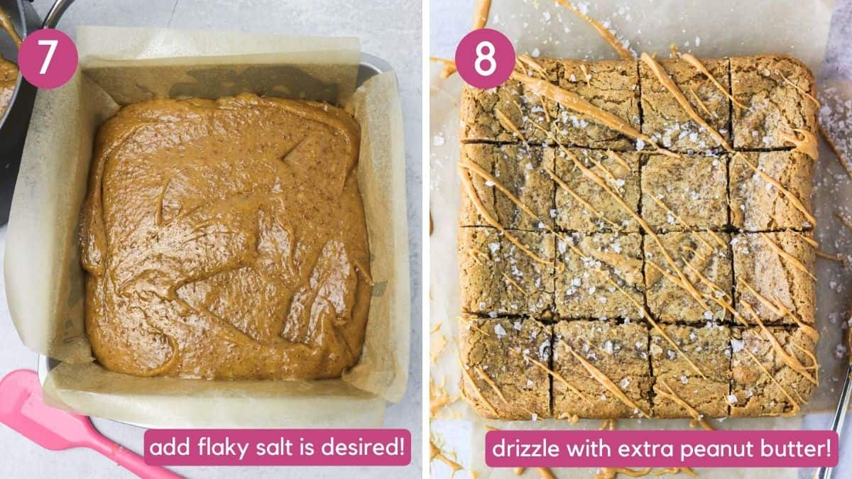 uncooked and cooked peanut butter vegan blondies.