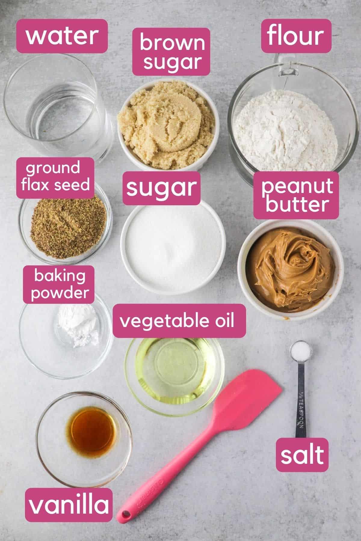 vegan peanut butter blondie ingredients.