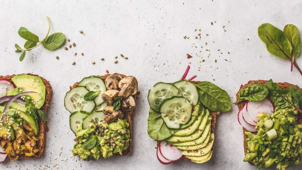 A variety of veggie loaded toasts.