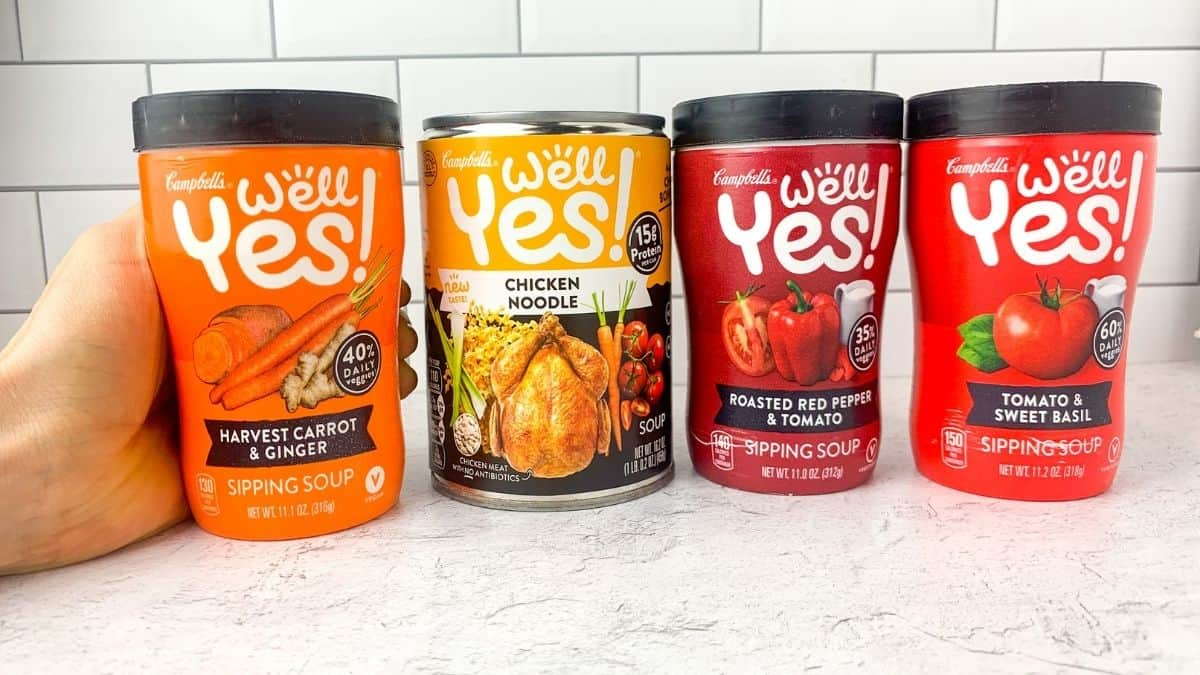 A variety of Well Yes! Canned and sipping soups.