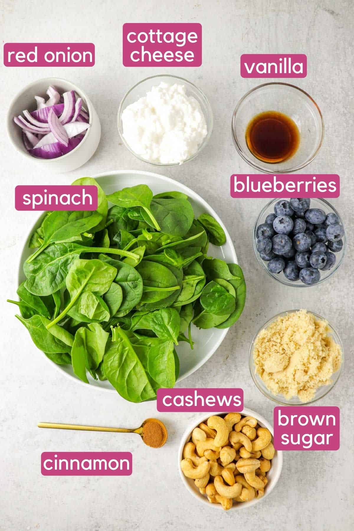 Spinach Blueberry Salad Ingredients.