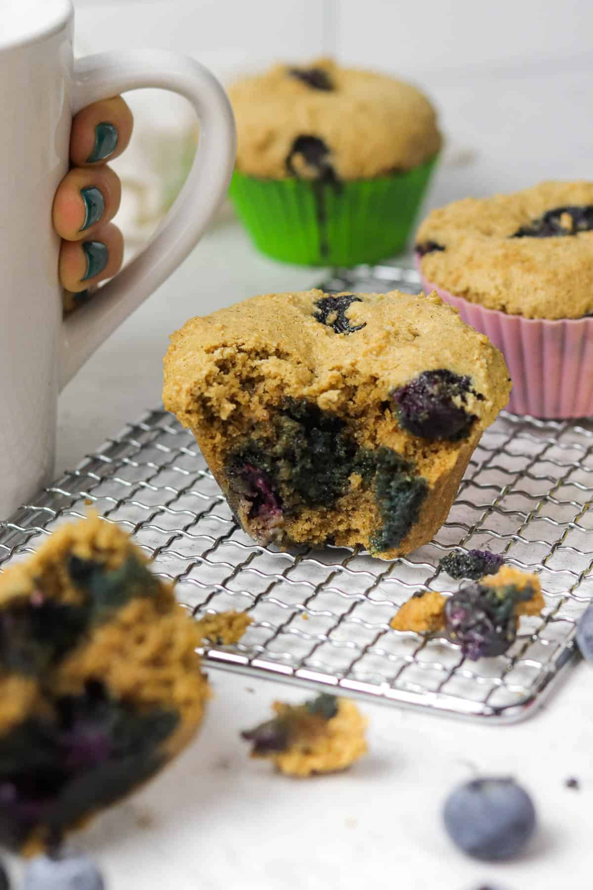 gluten free blueberry muffin on a cooling rack.