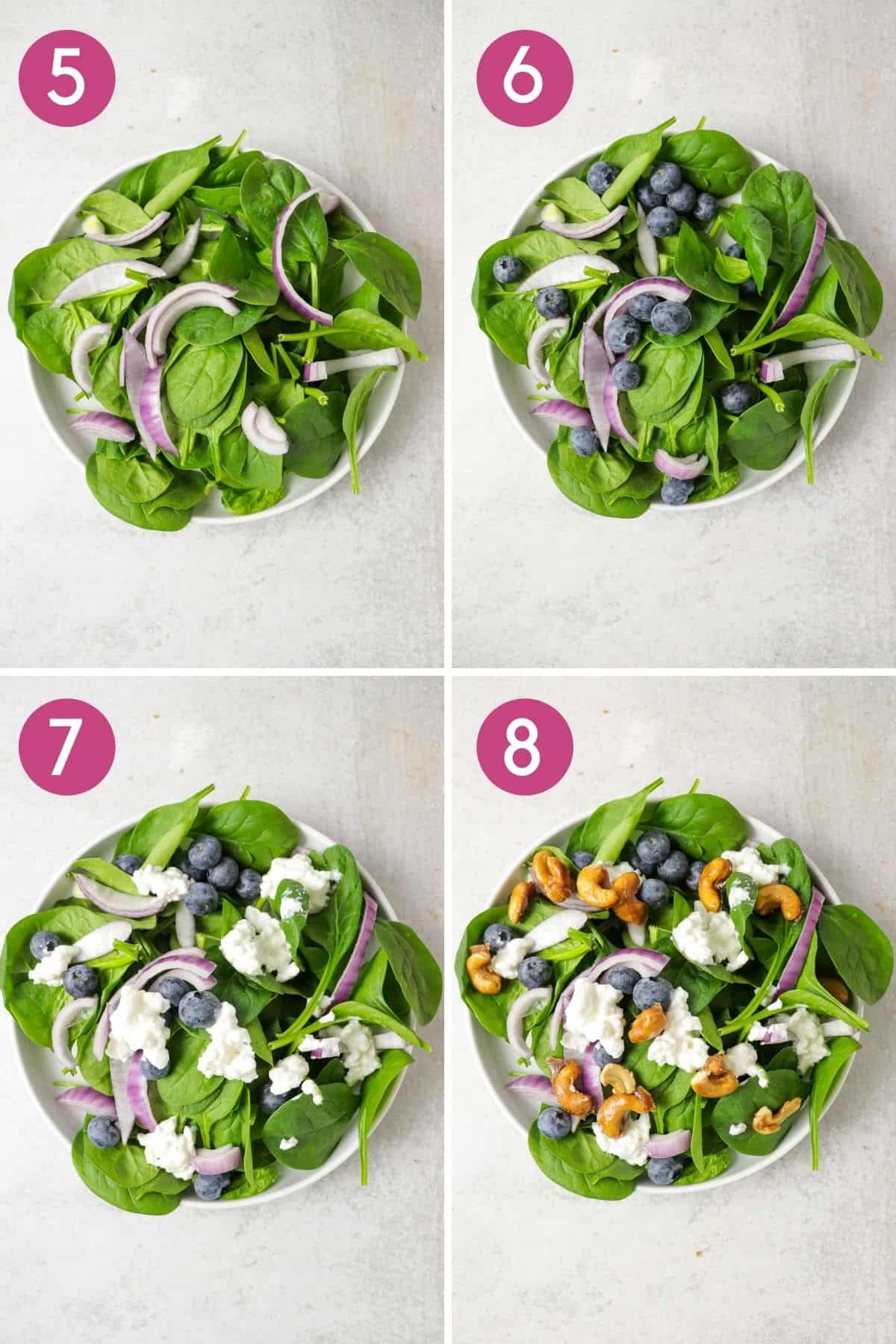 how to make a spinach blueberry salad with candied cashews.