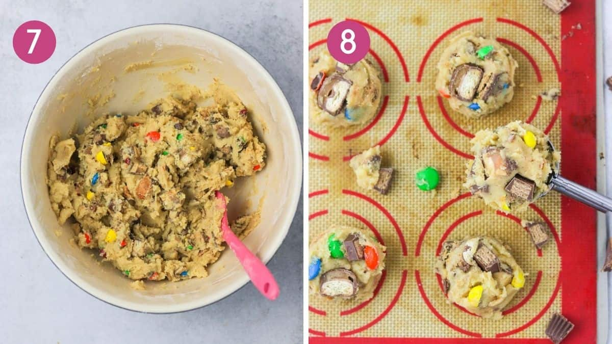 scooping candy cookies onto cookie sheet.