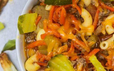 Cheesy macaroni hamburger soup.