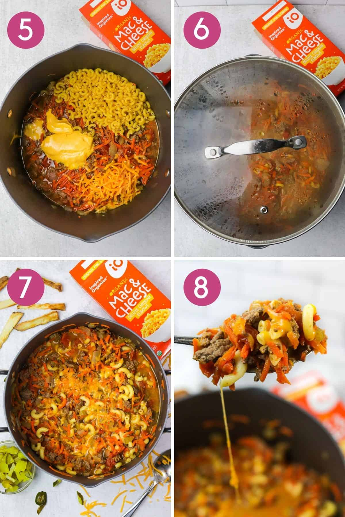 How to make hamburger soup with macaroni and cheese.