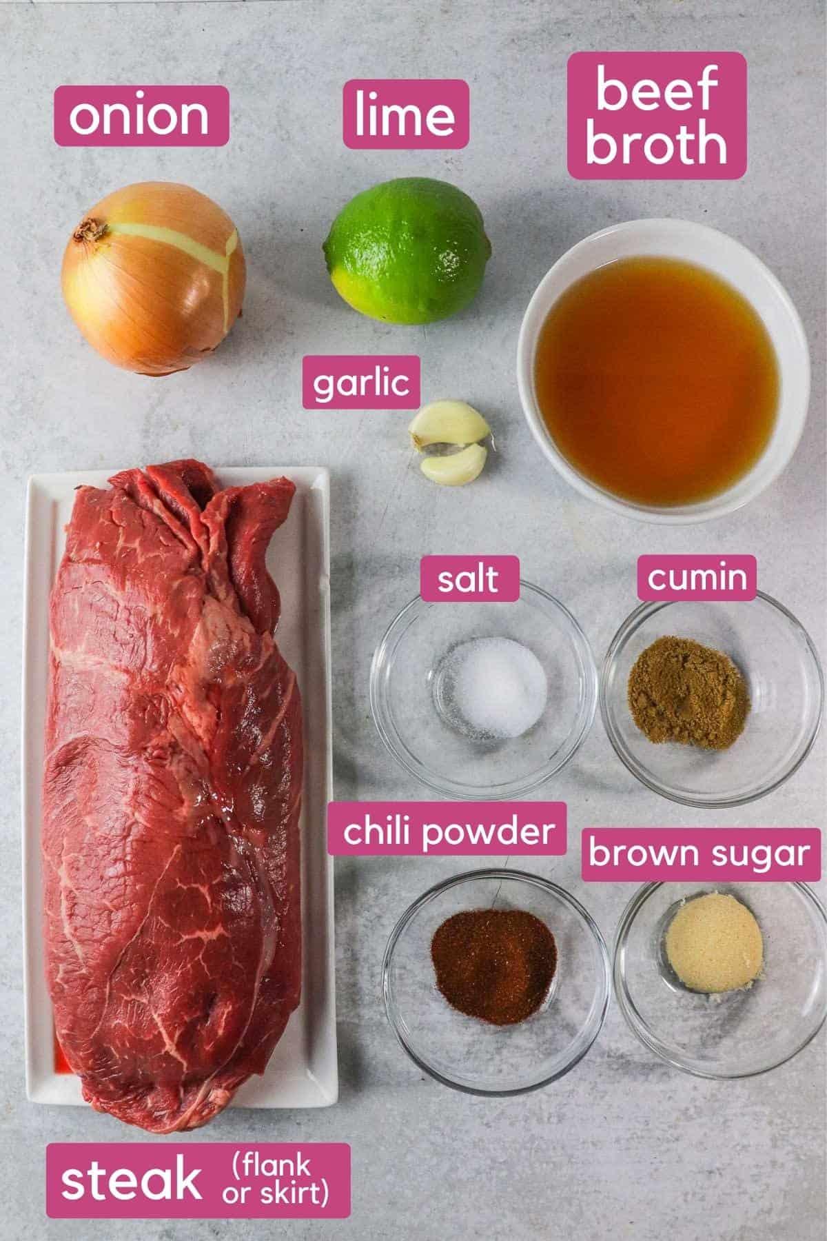 Instant Pot Carne Asada Ingredients.