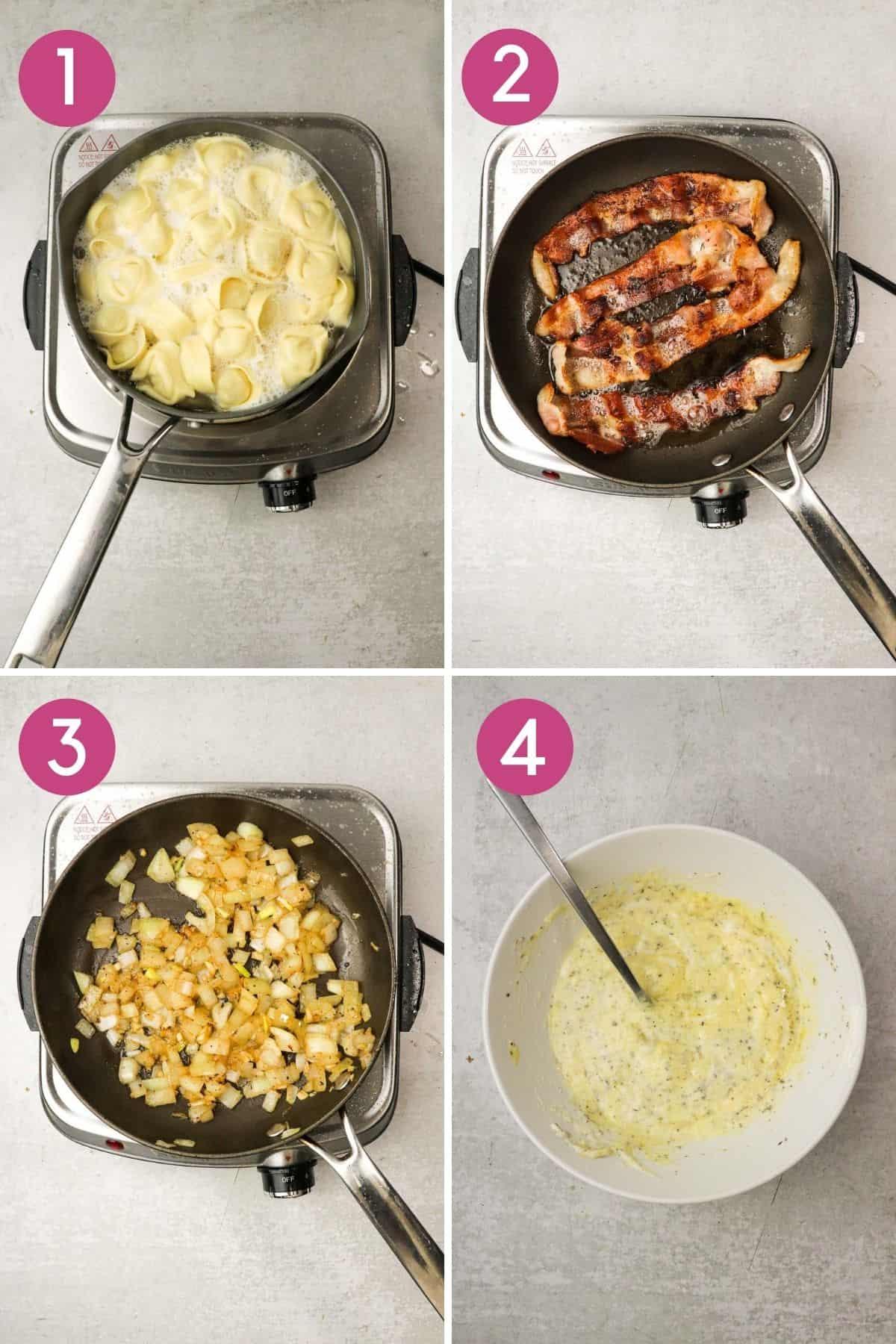 how to make tortellini carbonara pasta.