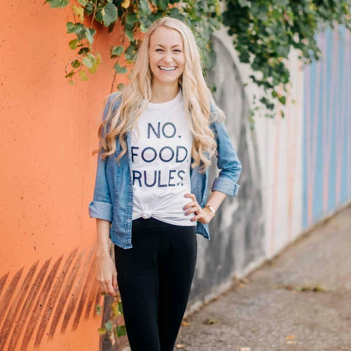 Colleen Christensen Wearing A No Food Rules T Shirt
