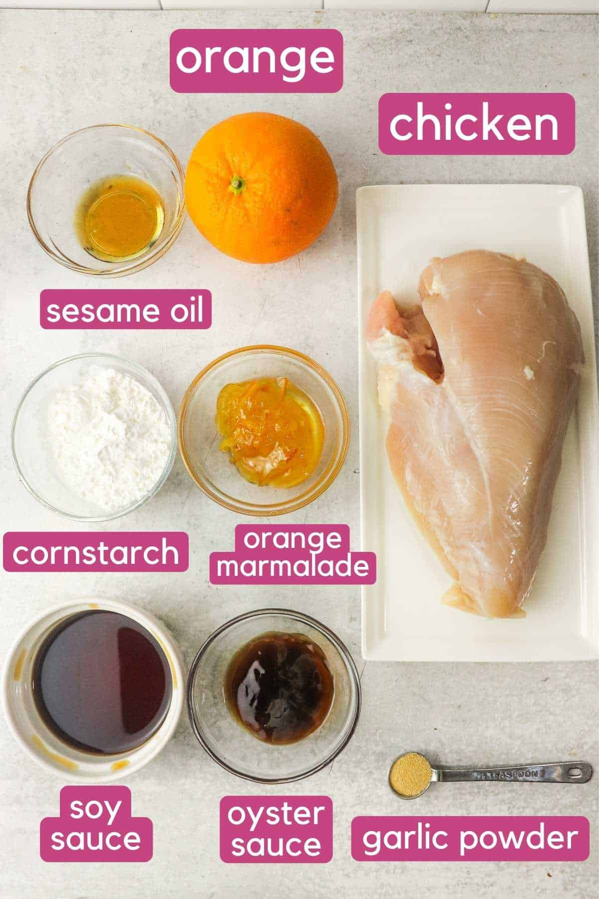 Ingredients for air fryer orange chicken.