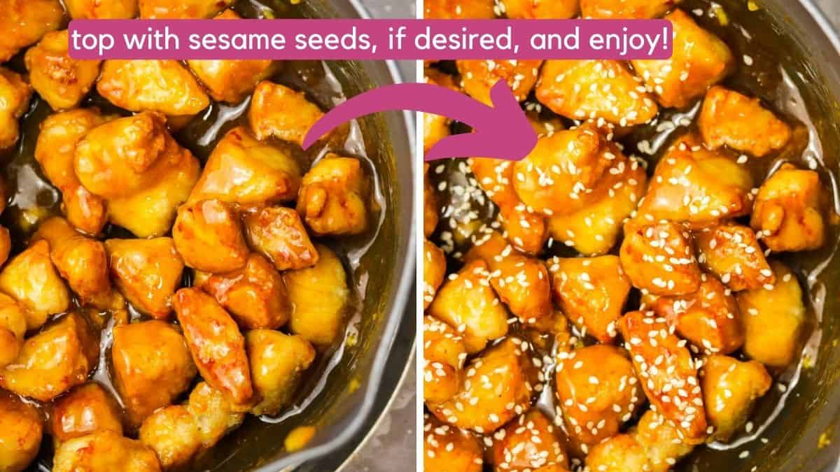 adding sesame seeds to air fryer orange chicken.