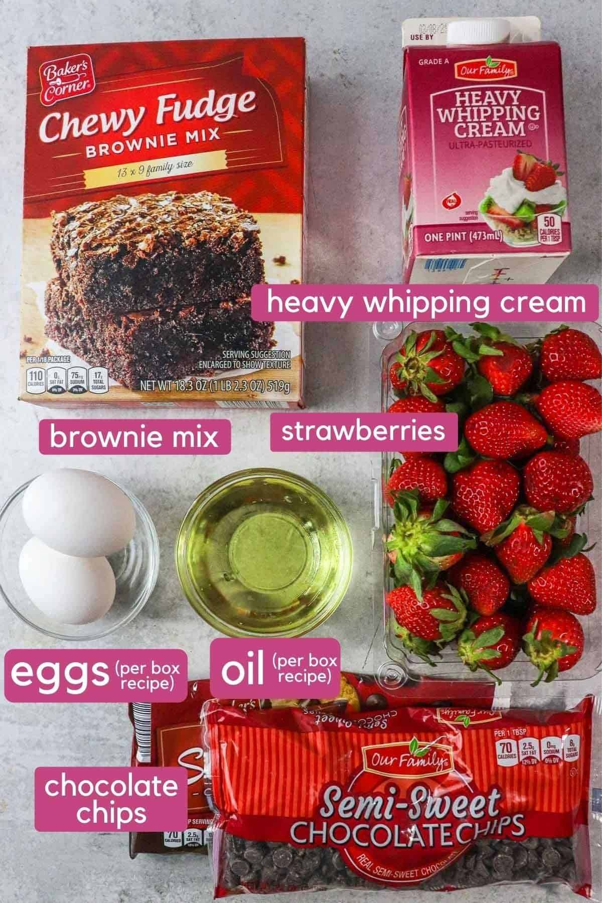 ingredients for chocolate covered strawberry brownies labeled.