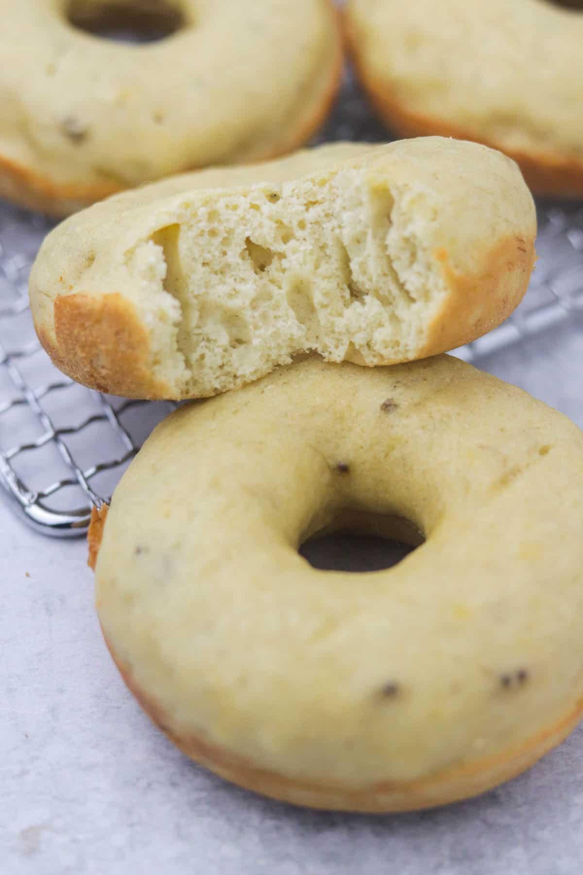 Half Eaten Baked Banana Donut.
