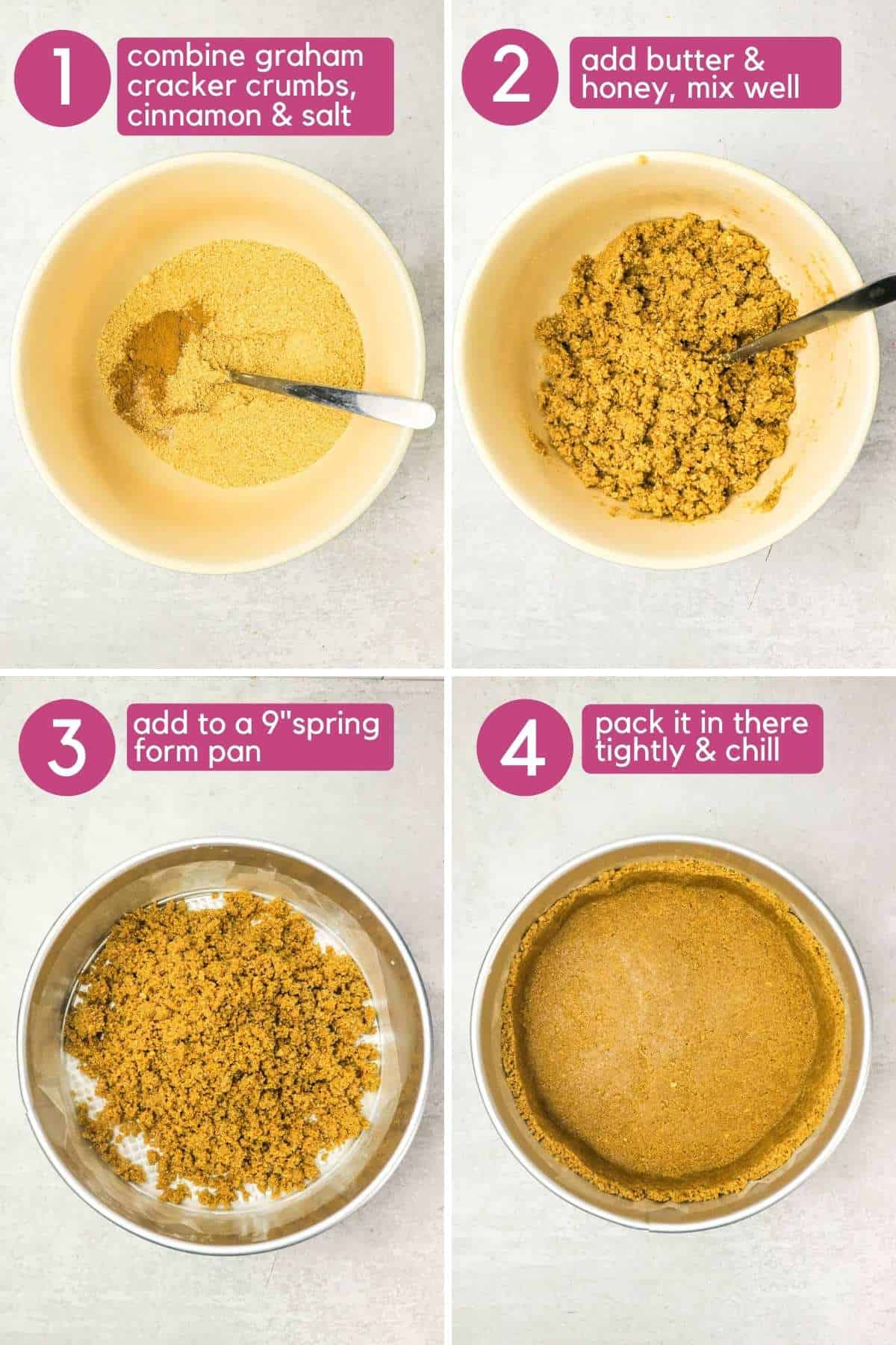 How to make the crust for an eggless cheesecake
