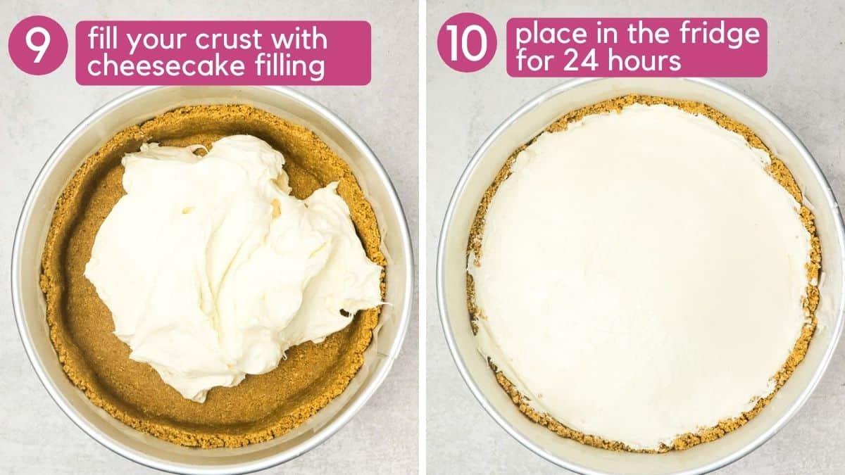 filling an eggless cheesecake
