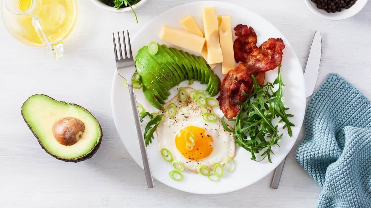 A plate of low carb food with a fork.