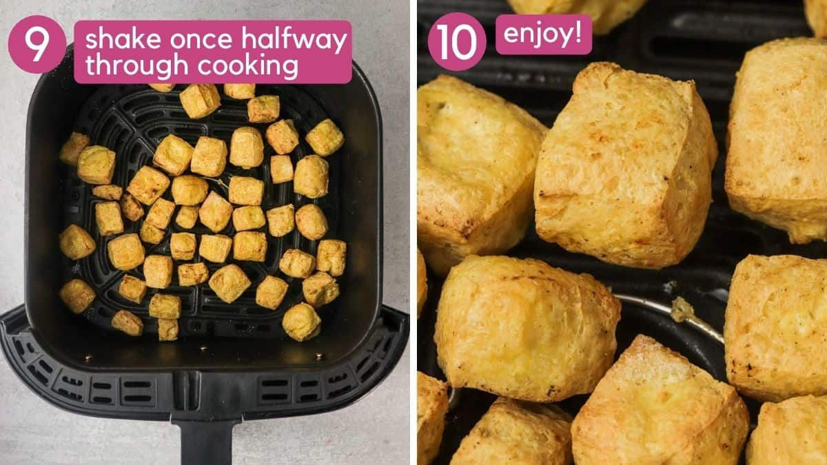 Shake air fryer tofu halfway through cooking.