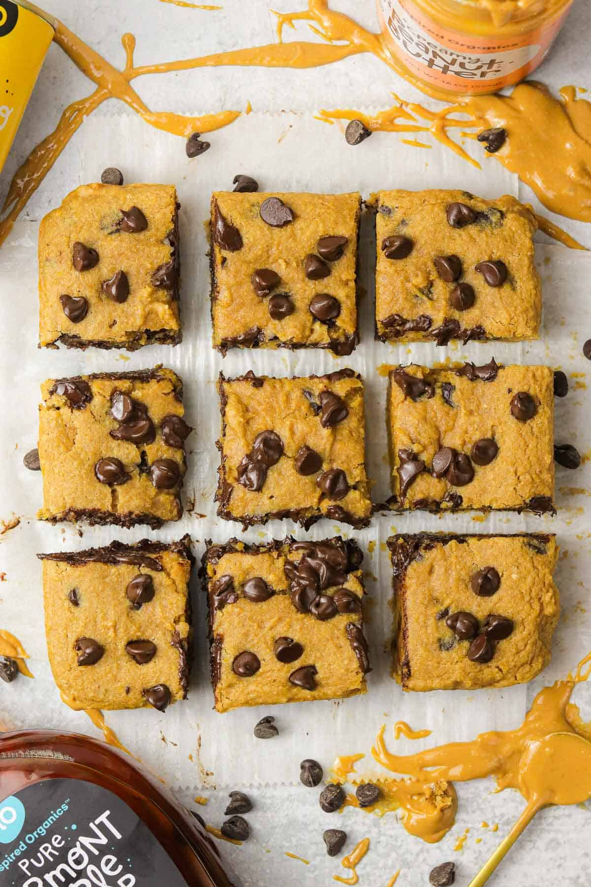 cut chickpea blondies on the counter.