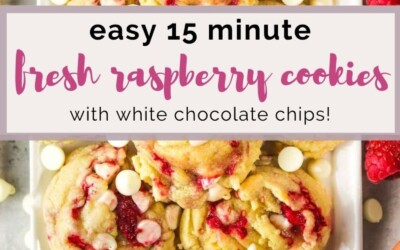 easy 15 minute white chocolate and raspberry cookies.
