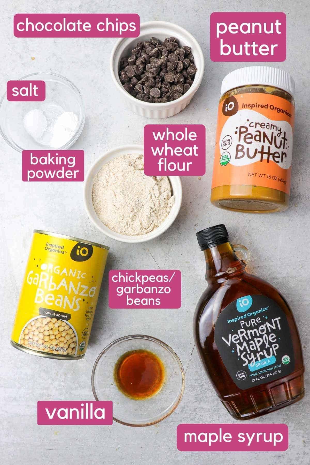 ingredients for chickpea blondies.