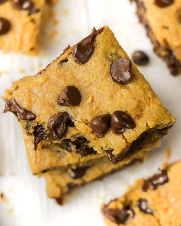 top of 3 stacked chickpea blondies.