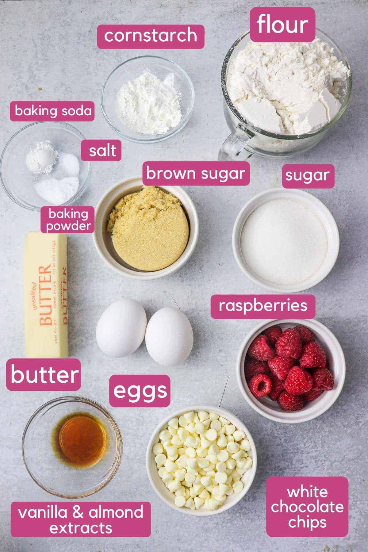 white chocolate and raspberry cookie ingredients