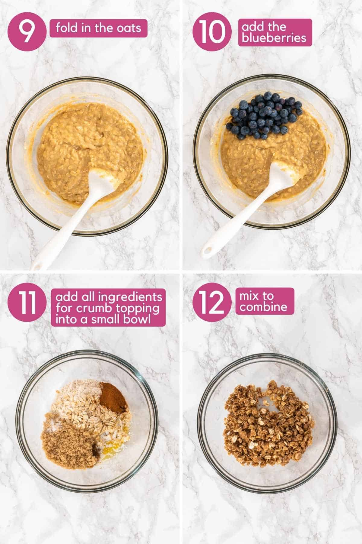 Adding oats and blueberries to blueberry banana oatmeal muffin batter.