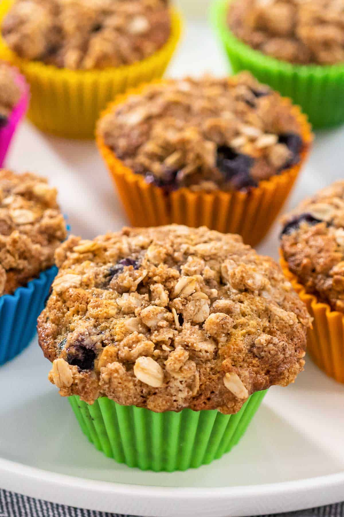Blueberry Oat Muffin up close.