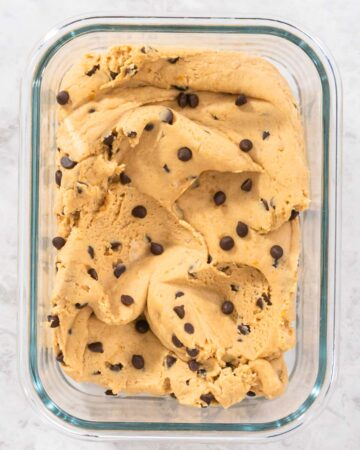 Chickpea Cookie dough in a container