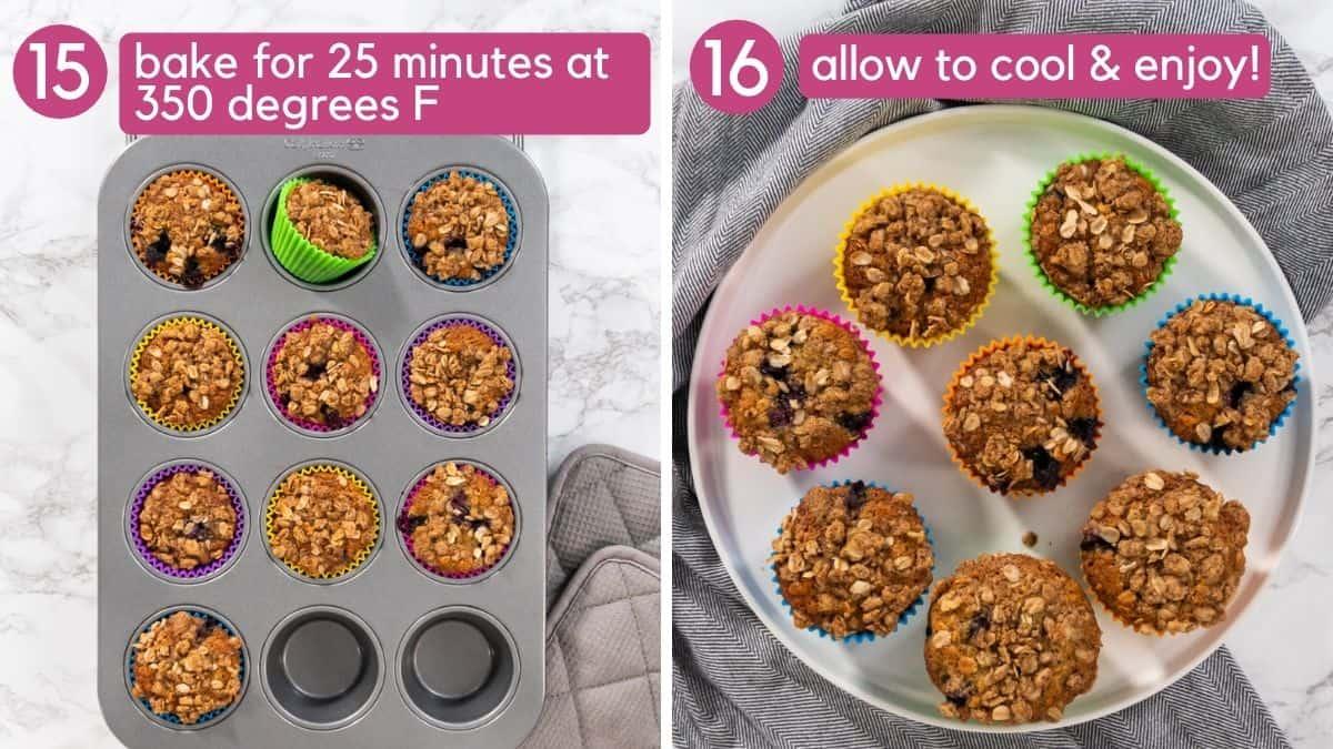 How to bake blueberry banana oatmeal muffins.