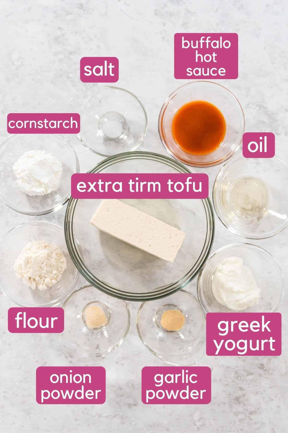buffalo tofu ingredients on the counter.