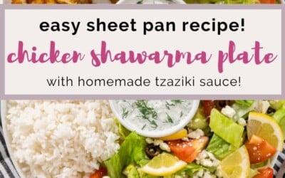 easy sheet pan chicken shawarma plate