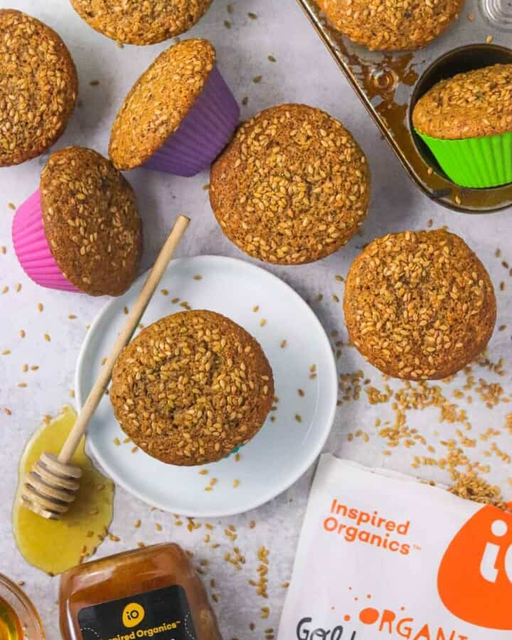 honey flaxseed muffins on the counter.