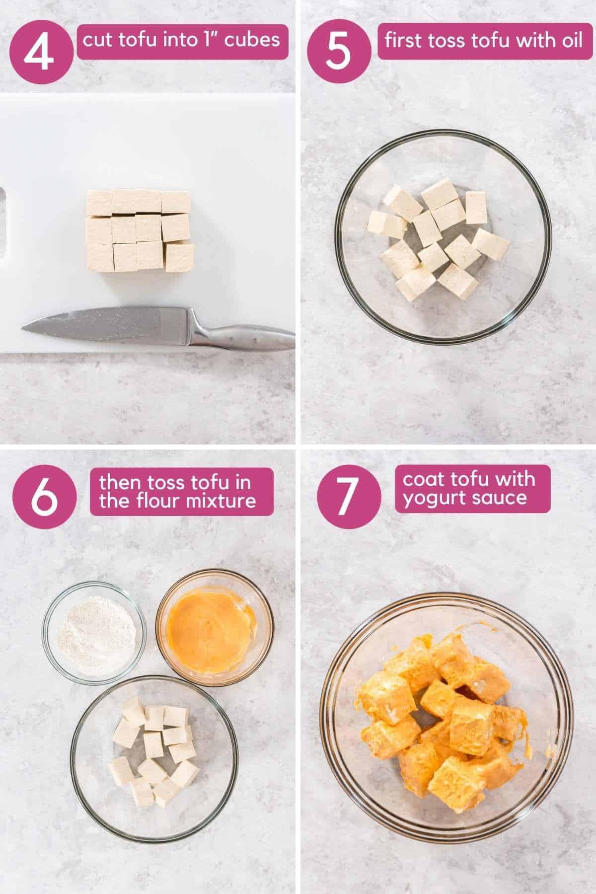 how to coat buffalo tofu in yogurt sauce.
