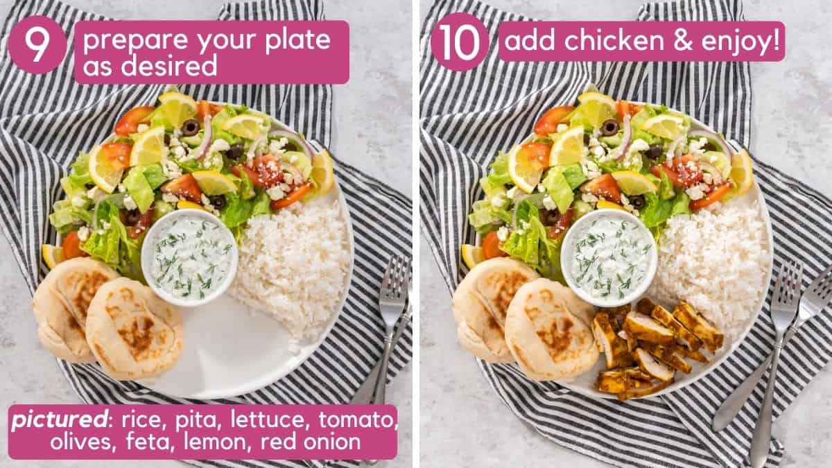 how to prepare a chicken shawarma plate or platter.